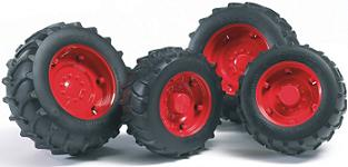 Bruder twin tyres with red rims