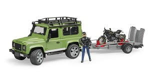 Bruder Land Rover Station Wagon with trailer, Ducati Scrambler Cafe Racer and driver
