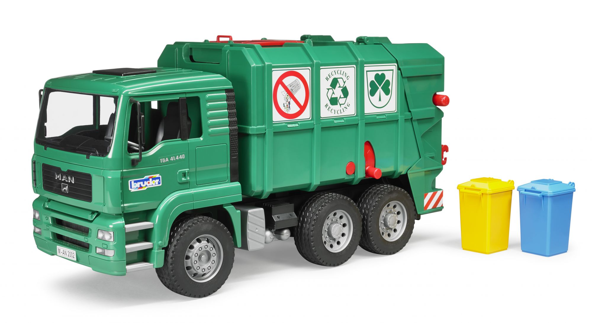 Bruder MAN TGA garbage truck with 2 dustbins