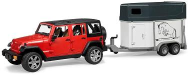 Bruder JEEP Wrangler Unlimited Rubicon with horse trailer and 1 horse