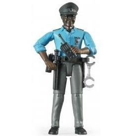Bruder Bworld policeman, dark skin, with accessories