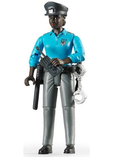 Bruder Bworld policewoman, dark skin, with accessories