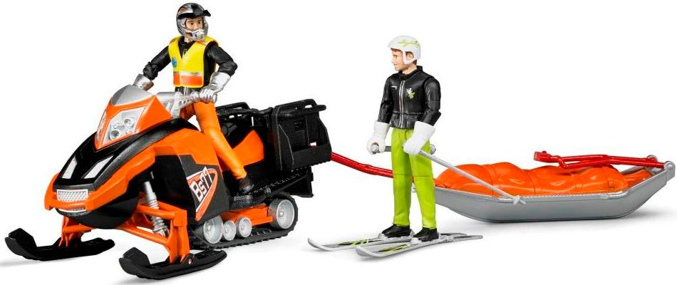 Bruder Bworld Snowmobil with driver, akia rescue sledge and skier