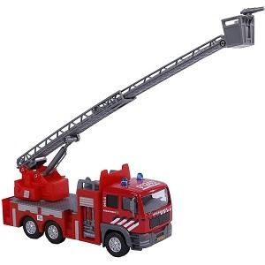 Kids Globe brandweer kraanwagen met licht en geluid en pull-back motor
