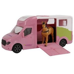 Kids Globe Anemone paardentruck roze met geluidsmodule, frictiemotor en paard