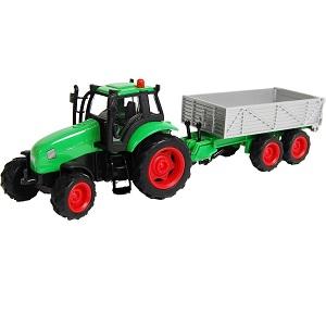 Kids Globe tractor met licht en geluid, frictie-motor en kiepaanhanger