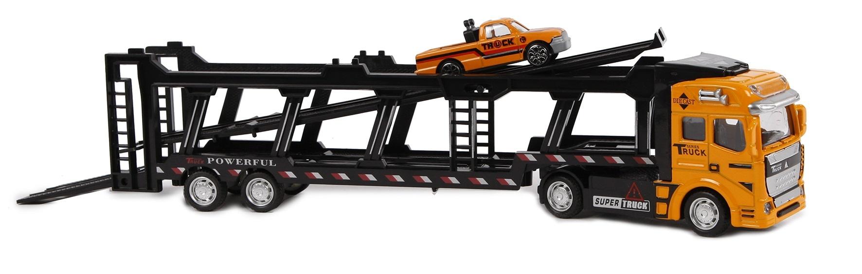 2-Play autotransporter vrachtwagen met pullback motor