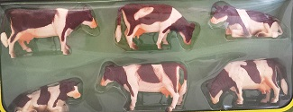 Kids Globe cow 1:32 red-brown laying and standing 6 pieces in giftbox
