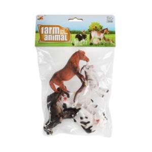 Boerderij dieren (hond, paard, koe, geit) set van 4 stuks