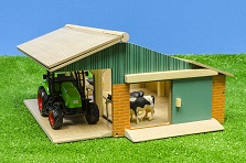Kids Globe farm set with tracor, open front farm and 3 cows 1:50
