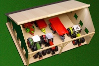 Kids Globe wooden Farm Machinery Shed for tractors 1:32 small